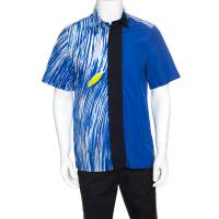 Kenzo Blue Wave Printed Colorblock Cotton Short Sleeve Button Front Shirt M