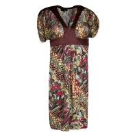 Just Cavalli Multicolor Printed Lurex Detail Short Sleeve Dress S 134455