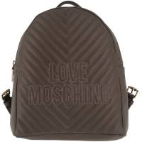 Love Moschino Grey Faux Quilted Leather Logo Backpack 157116