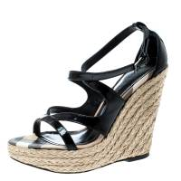 Burberry Black Patent Leather Espadrille Wedges Cross Strap Sandals Size 36
