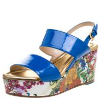 Loriblu Blue Patent Leather Floral Printed Wedge Sandals Size 36 98683