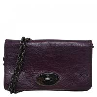 Mulberry Purple Leather Bayswater Wallet On Chain Clutch Bag