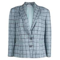Carolina Herrera Powder Blue Checked Tweed Blazer XL