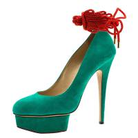 Charlotte Olympia Green Suede Dolly Platform Pumps Size 40 50924