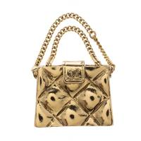 Chanel CC Quilted Bag Gold Tone Pin Brooch