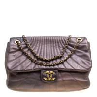 Chanel Metallic Brown Leather Classic Single Flap Bag