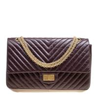 Chanel Burgundy Chevron Quilted Leather Reissue 2.55 Classic 227 Flap Bag
