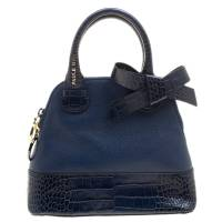 Paule Ka Blue Leather and Croc Embossed Leather Bow Tote 138525