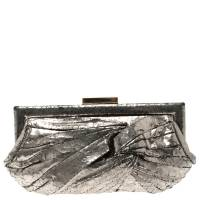 Anya Hindmarch Metallic Silver Crackled Leather Frame Clutch 119342
