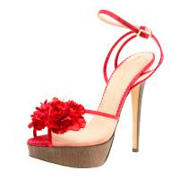 Charlotte Olympia Red Satin and Mesh Pomeline Flower Embellished Peep Toe Platform Sandals Size 40.5 155324