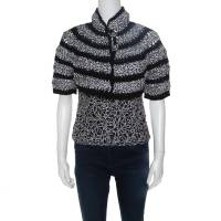 Chanel Black And White Cutout Detail Bolero Jacket and Sleeveless Top Set M