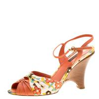Louis Vuitton Orange Motif Printed Fabric and Leather Ankle Strap Sandals Size 38.5 136142
