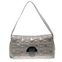 Carolina Herrera Metallic Grey Monogram Leather Shoulder Bag