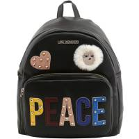 Love Moschino Black Leather PEACE Backpack 167892