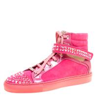 Le Silla Pink Suede And Patent Leather Crystal Embellished Cap Toe High Top Sneakers Size 40