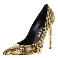 Enio Silla For Le Silla Metallic Gold Crystal Embellished Suede Pointed Toe Pumps Size 40