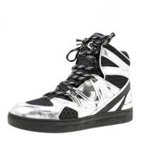 Marc By Marc Jacobs Metallic Silver/Black Leather And Mesh High Top Sneakers Size 38 174773