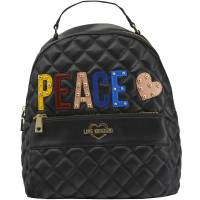 """Love Moschino Black Quilted Faux Leather """"PEACE"""" Backpack 199432"""