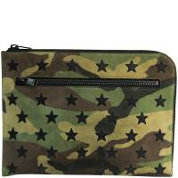 Saint Laurent Paris Khaki/Brown Camouflage Suede Clutch Bag 171769