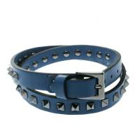 Valentino Rockstud Blue Leather Gunmetal Tone Double Wrap Bracelet