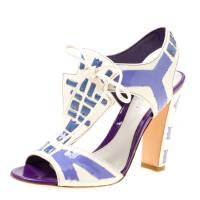 Sergio Rossi White Leather With Purple Cut Out Detail Peep Toe Sandals Size 36.5