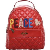 Love Moschino Red Quilted Faux Leather PEACE Backpack 172185