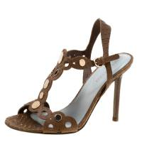 Sergio Rossi Brown Python Embossed Leather Studded Sandals Size 36.5