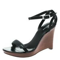 Sergio Rossi Black Leather Wedge Ankle Strap Sandals Size 38.5