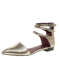 Marc By Marc Jacobs Metallic Gold Embossed Snakeskin Leather Minetta Ankle Strap Flat Sandals Size 38 179628