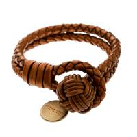 Bottega Veneta Intrecciato Metallic Leather Gold Plated Bracelet
