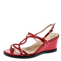 Stuart Weitzman Red Patent Leather Strappy Wedge Sandals Size 36.5 182121