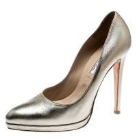 Oscar De La Renta Metallic Gold Leather Pointed Toe Pumps Size 40 182769