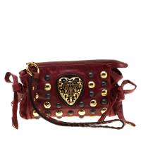 Gucci Red Leather Studded Babouska Hysteria Clutch