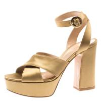 Gianvito Rossi Gold Satin Block Heel Cross Strap Platform Sandals Size 35.5 183847