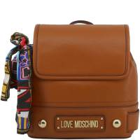 Love Moschino Brown Faux Leather Scarf Backpack 183416