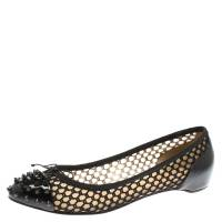 Christian Louboutin Black Patent Leather With Cord Mix Spike Cap Toe Ballet Flats Size 40.5