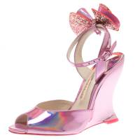 Sophia Webster Metallic Pink Holographic Leather Rizzo Ankle Strap Chrome Wedge Sandals Size 36