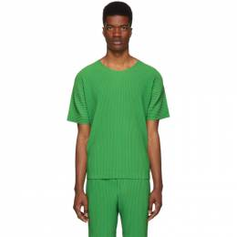 Homme Plisse Issey Miyake Green Pleated T-Shirt 192729M21300102GB