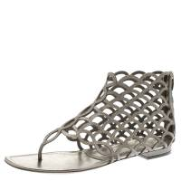 Sergio Rossi Metallic Grey Leather Cut Out Scalloped Flat Sandals Size 39.5 185353