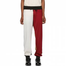 424 Red and White Colorblocked Lounge Pants 191010M19000605GB