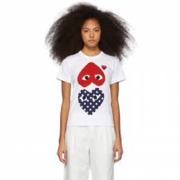 Comme Des Garcons Play White and Red Polka Dot Hearts T-Shirt 192246F11000102GB