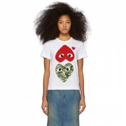 Comme Des Garcons Play White and Red Camo Hearts T-Shirt 192246F11000202GB