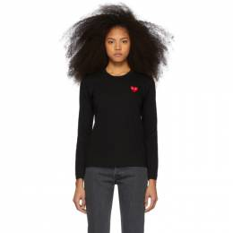 Comme Des Garcons Play Black and Red Heart Patch Long Sleeve T-Shirt 192246F11001902GB