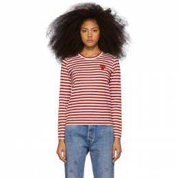 Comme Des Garcons Play Red and White Striped Heart Patch Long Sleeve T-Shirt 192246F11001204GB
