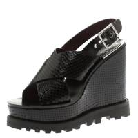 Marc By Marc Jacobs Black Embossed Snakeskin Leather Irving Cross Strap Wedge Sandals Size 35.5 186105