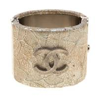 Chanel CC Lace Overlay Silver Tone Cuff Bracelet