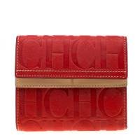 Carolina Herrera Red Monogram Leather Wallet