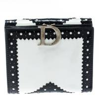 Dior Black/White Brogues Patent Leather Compact Wallet 186779