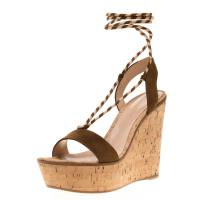 Gianvito Rossi Brown Suede Ankle Wrap Cork Wedge Sandals Size 37.5