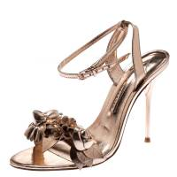 Sophia Webster Metallic Rose Gold Leather Lilico Floral Embellished Ankle Wrap Sandals Size 38
